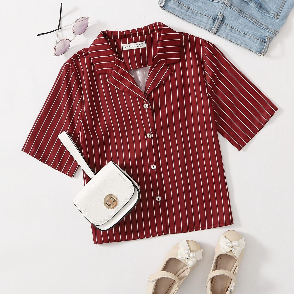 Однобортный Полосатый Повседневный Блузки для девочек от SHEIN