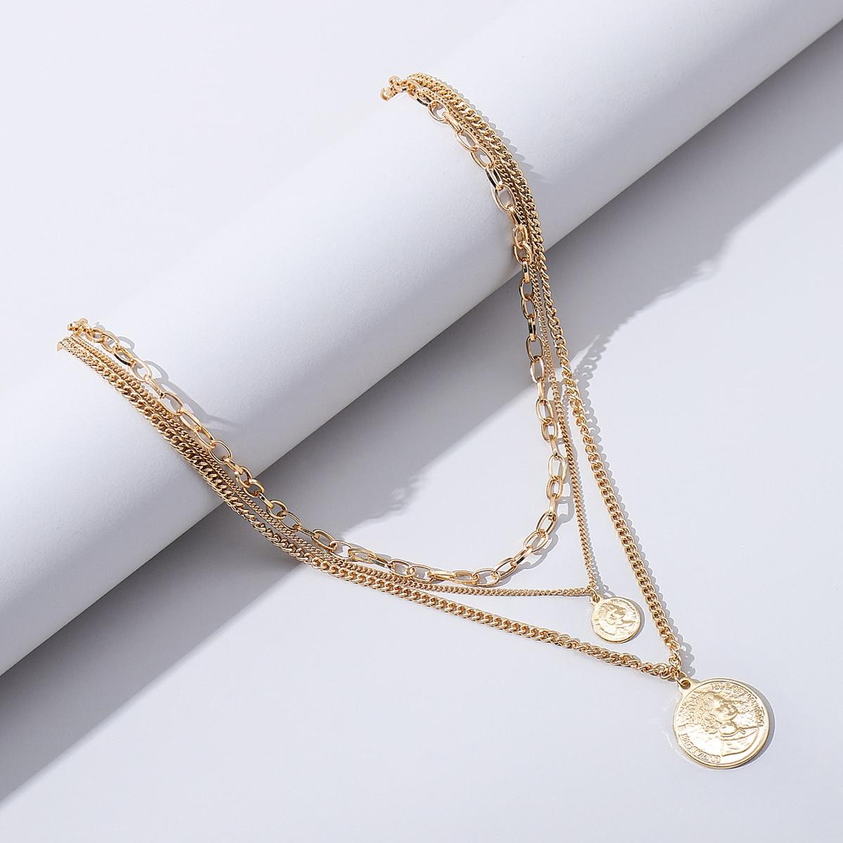 Мужское многослойное ожерелье с декором британской монеты от SHEIN