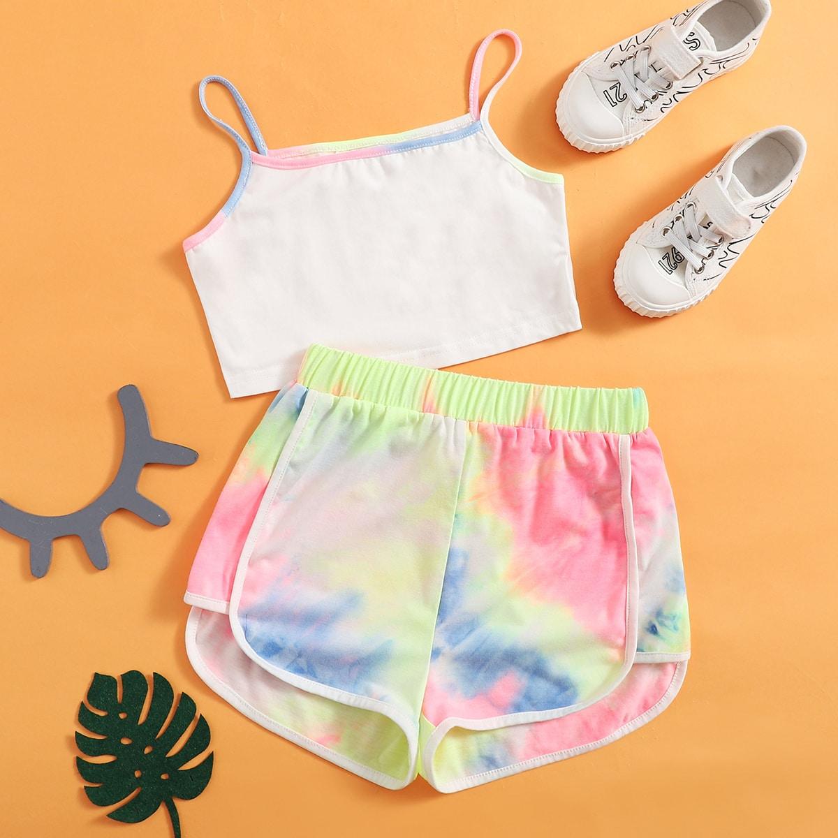 Многоцветный Асимметричный Галстуковый краситель Спортивный Комплекты для девочек от SHEIN