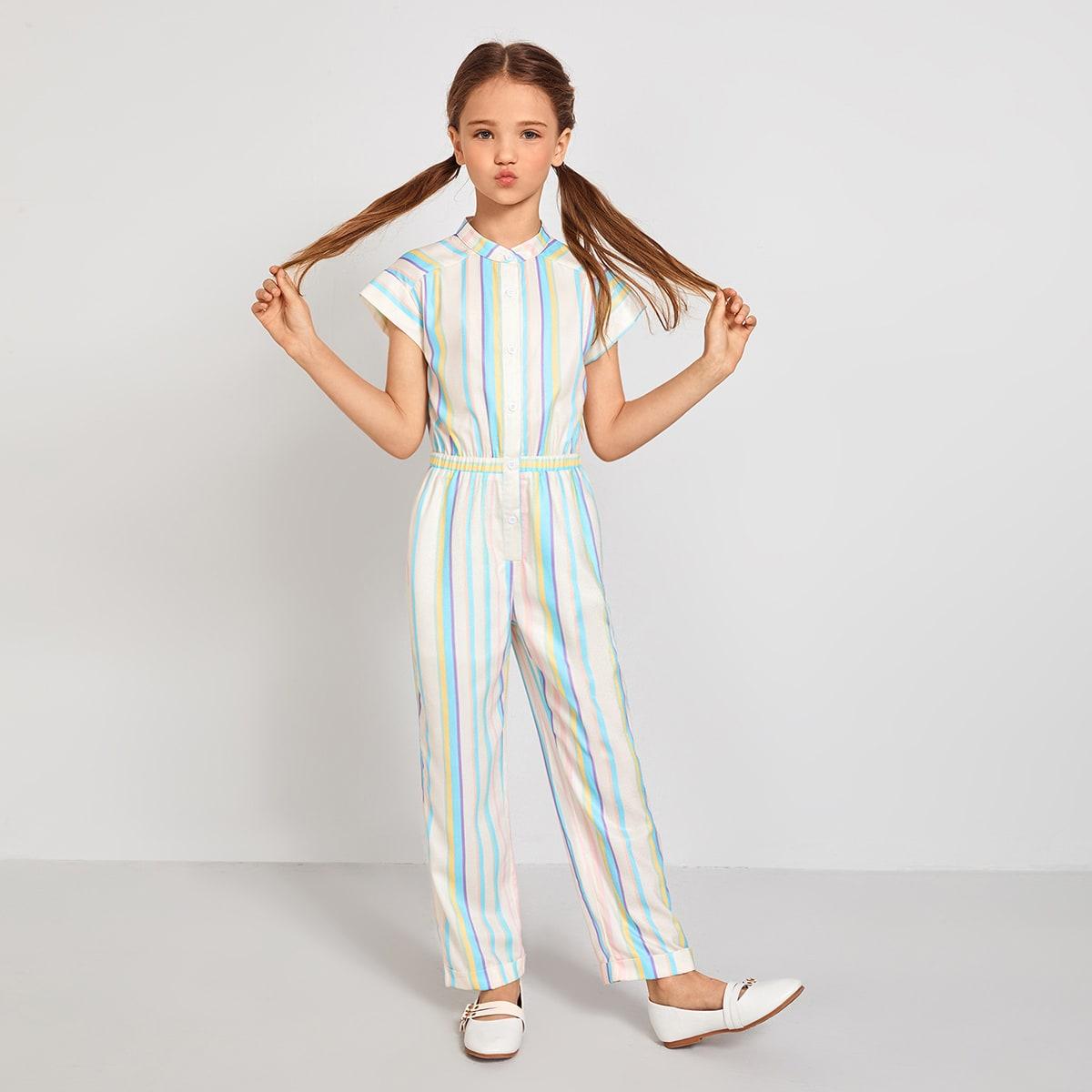 SHEIN / Girls Button Front Striped Shirt Jumpsuit