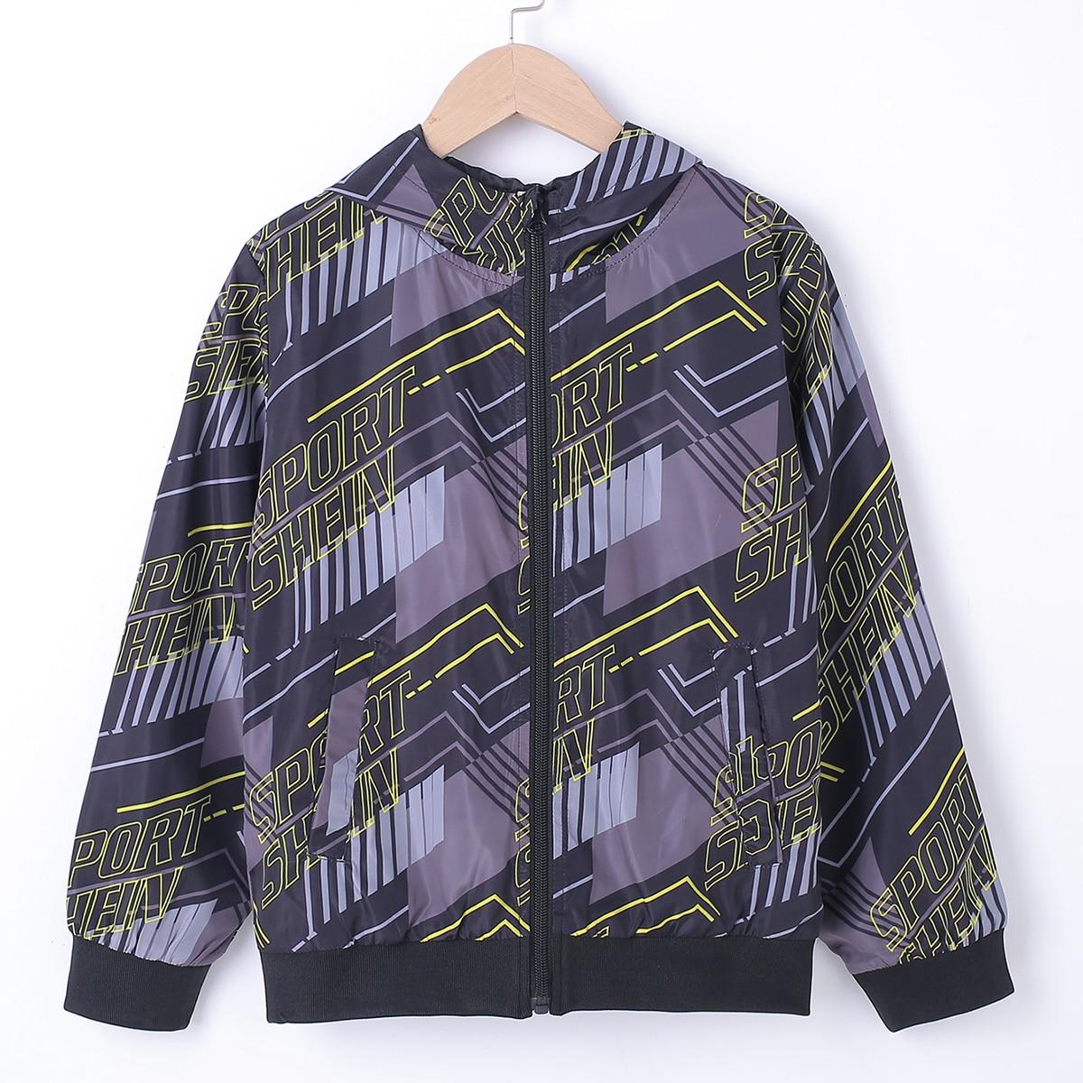 Куртка-ветровка с капюшоном, текстовым принтом и молнией для мальчиков от SHEIN