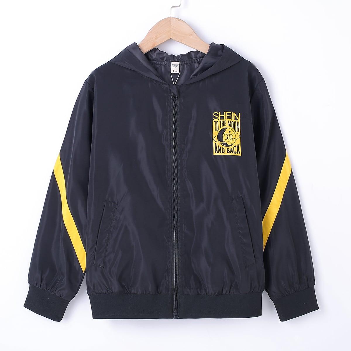 Куртка-ветровка с текстовым и графическим принтом для мальчиков от SHEIN