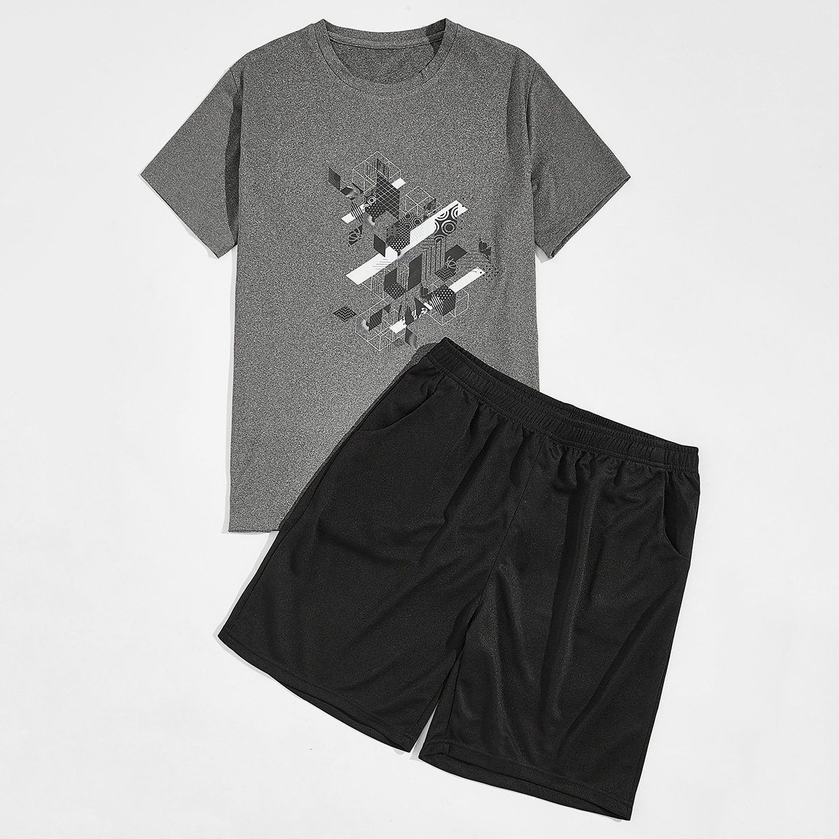 Мужская спортивная футболка с геометрическим принтом
