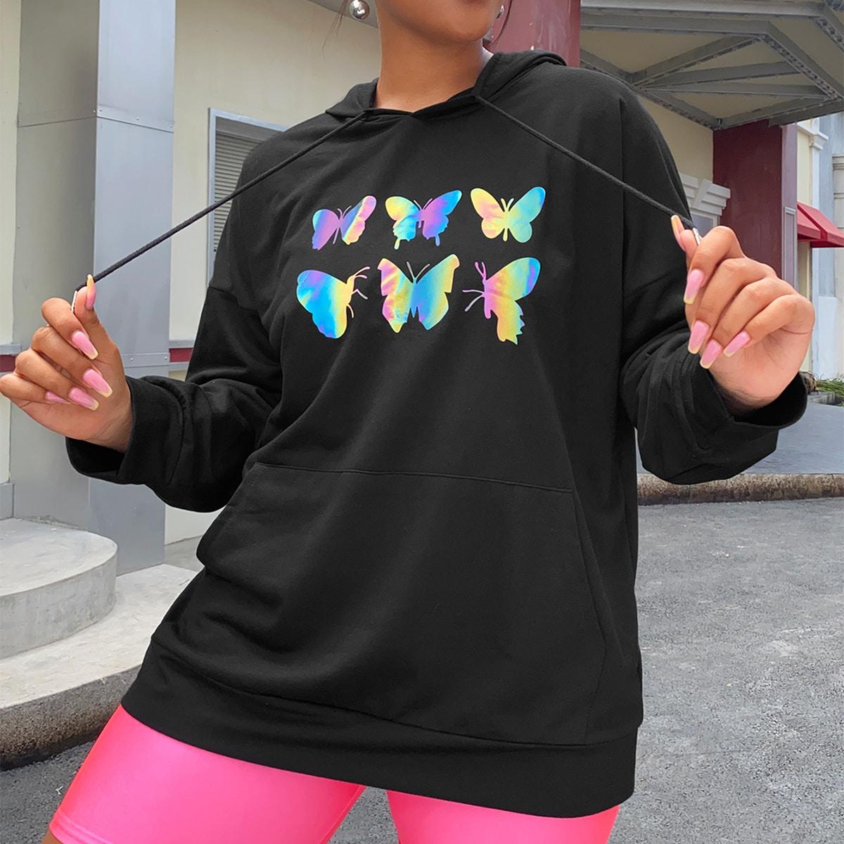 SHEIN / Plus Butterfly Print Kangaroo Pocket Drawstring Hoodie