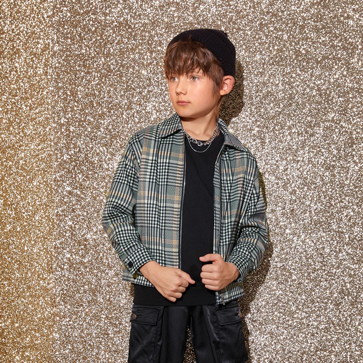 Пальто в клетку на молнии для мальчиков от SHEIN