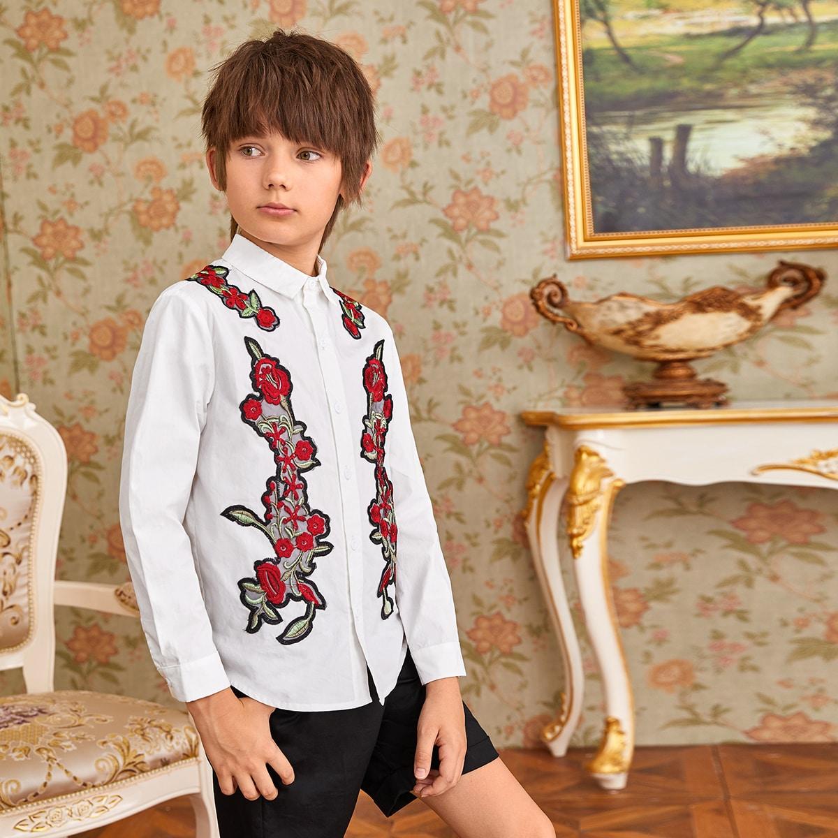 Рубашка с цветочной вышивкой для мальчиков от SHEIN