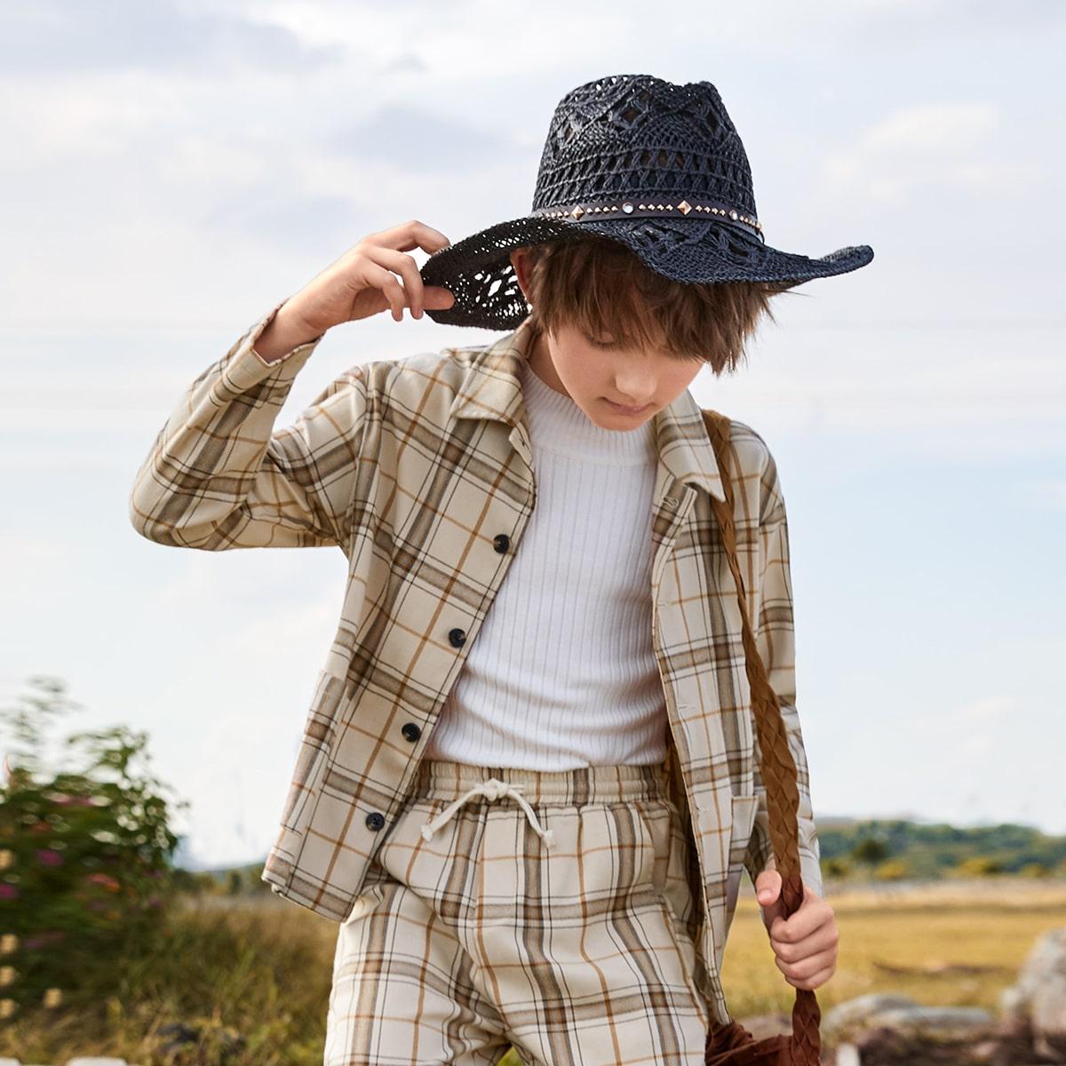 Куртка в клетку с карманом для мальчиков от SHEIN