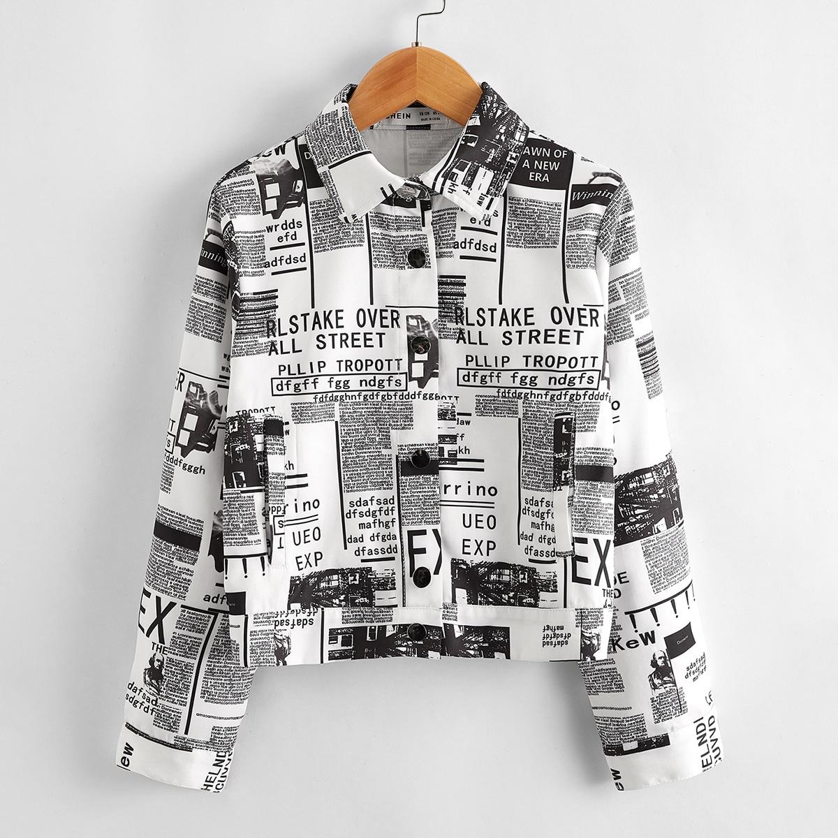 Однобортная куртка с принтом газеты для девочек от SHEIN