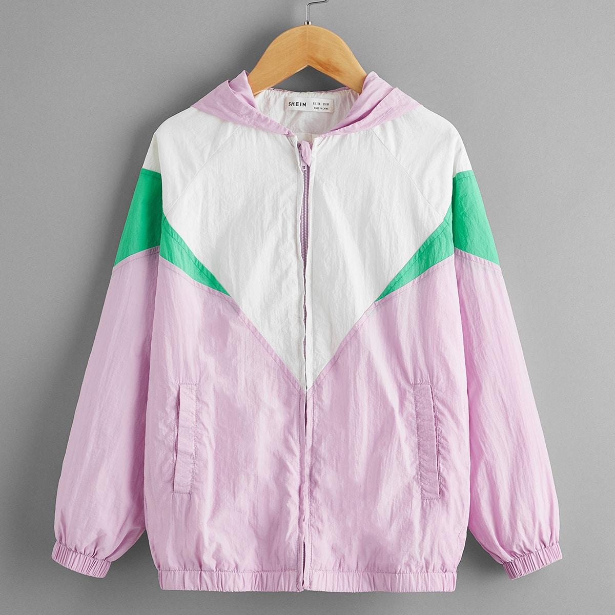 Контрастная куртка с капюшоном и молнией для девочек от SHEIN