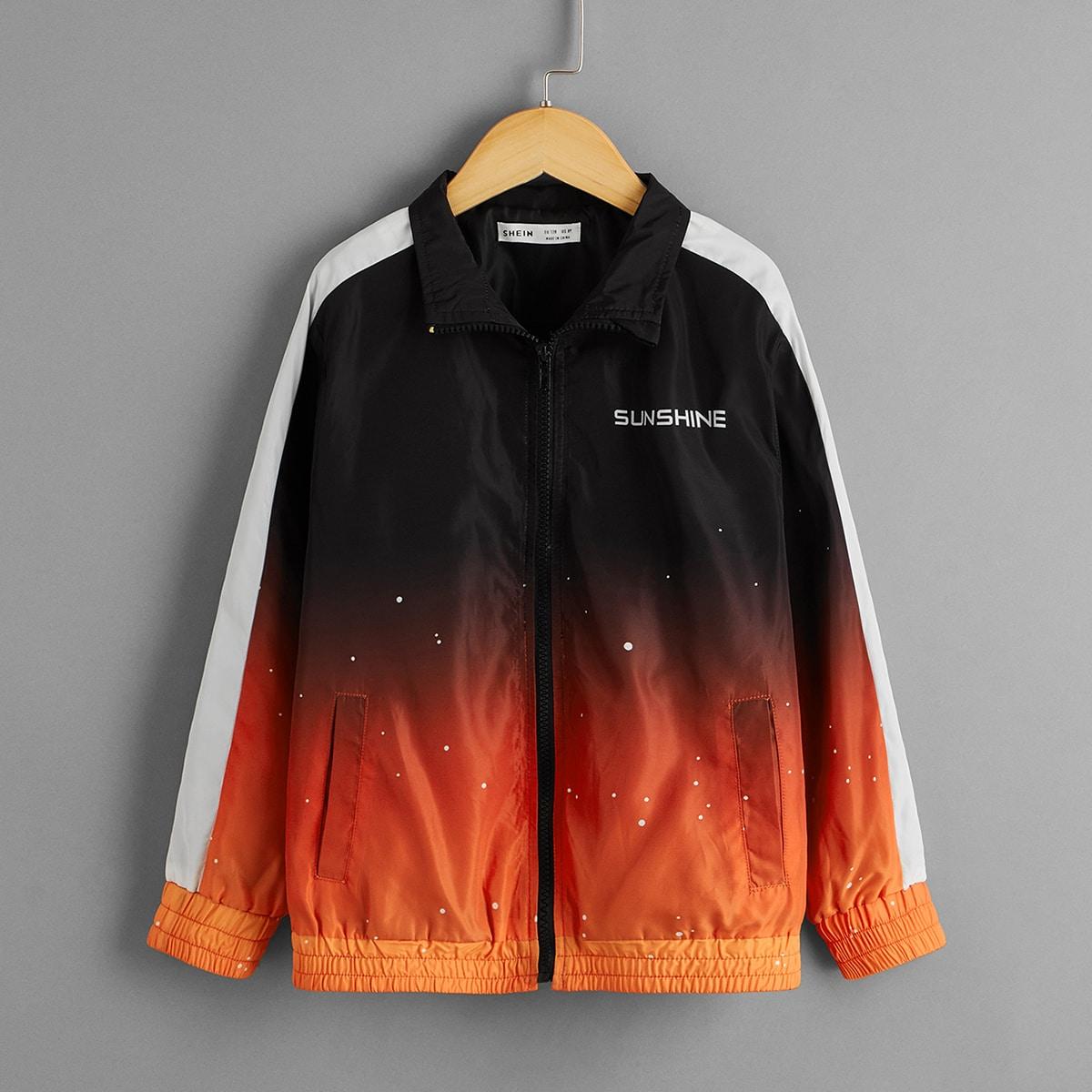 Куртка с текстовым принтом и молнией для мальчиков от SHEIN