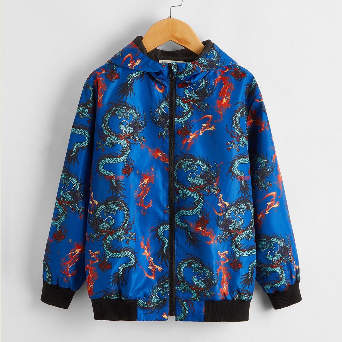 Куртка с принтом огня и китайского дракона для мальчиков от SHEIN