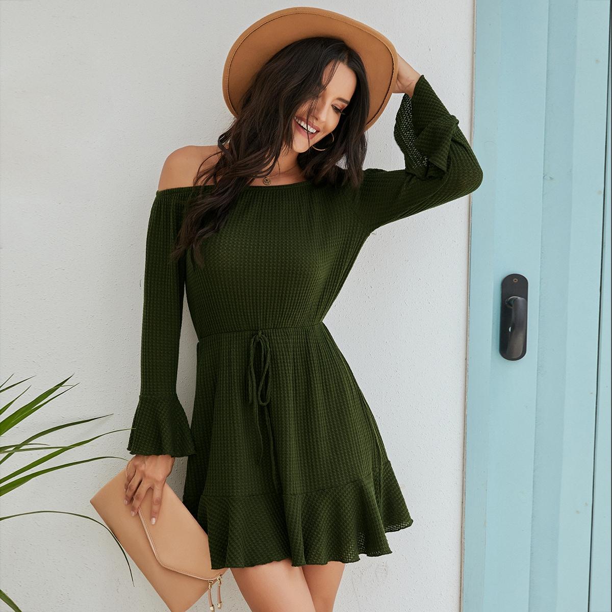 SHEIN / Bardot Flounce Sleeve Ruffle Hem Dress