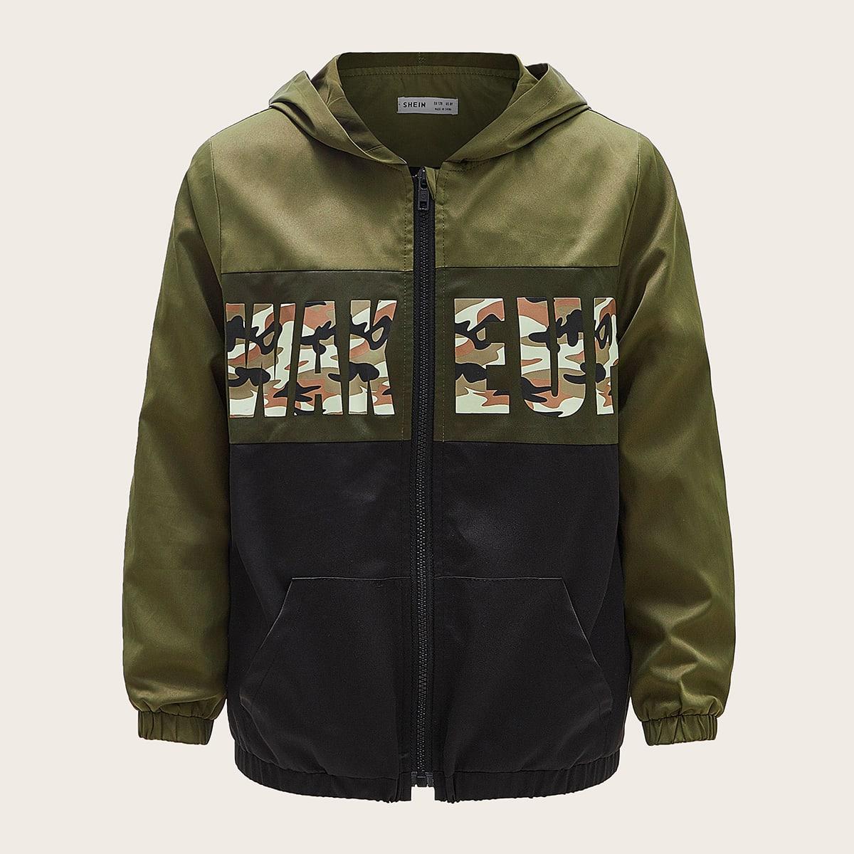 Контрастная куртка с капюшоном, молнией и текстовым принтом для мальчиков от SHEIN
