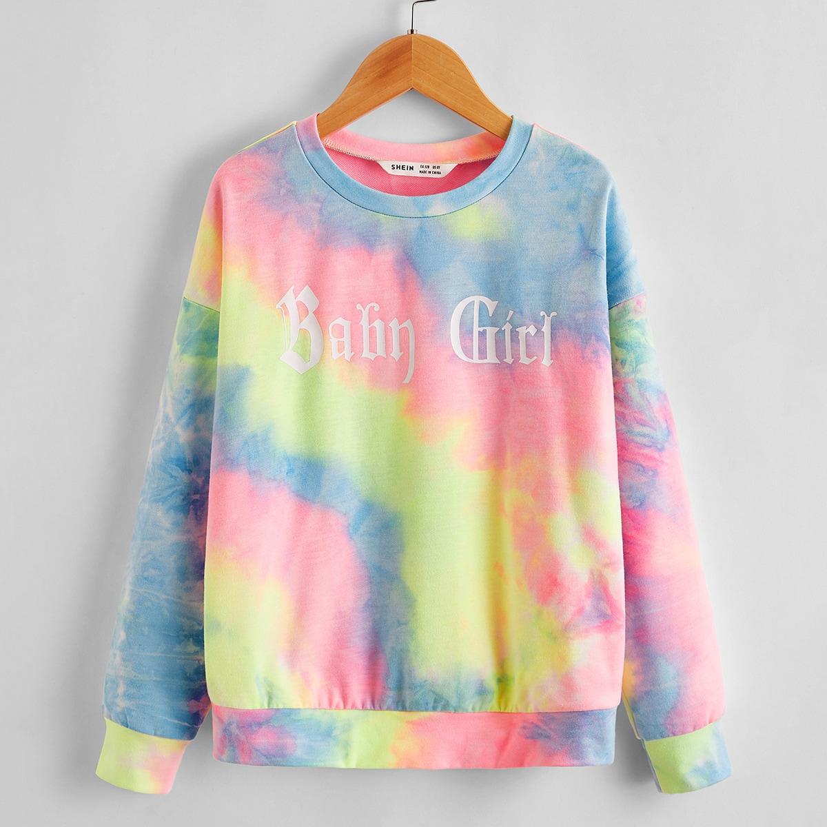 Разноцветный свитшот с текстовым принтом для девочек от SHEIN