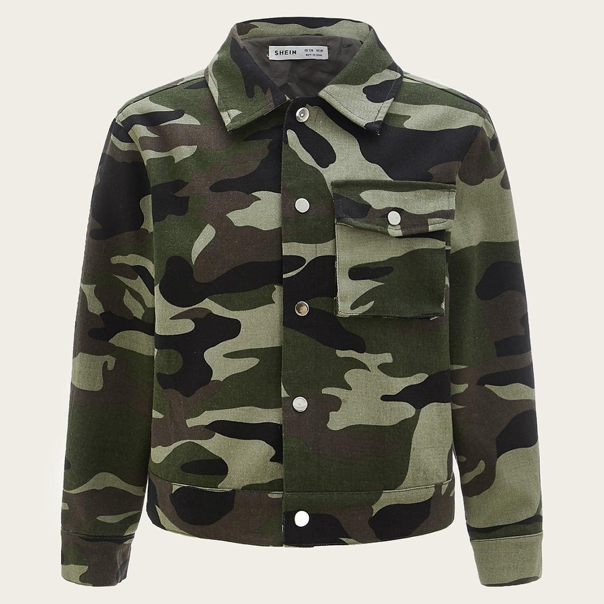 Куртка с камуфляжным принтом и карманом для мальчиков от SHEIN