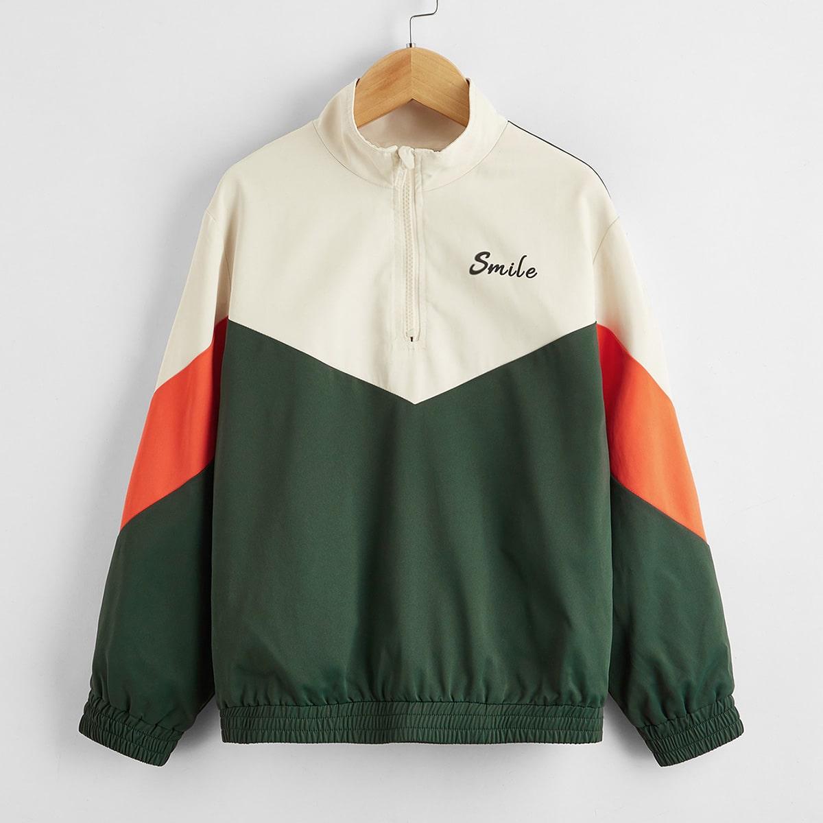 Контрастная куртка на молнии с текстовым принтом для мальчиков от SHEIN