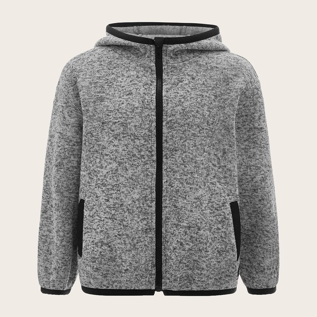 Куртка на молнии с контрастной отделкой для мальчиков от SHEIN