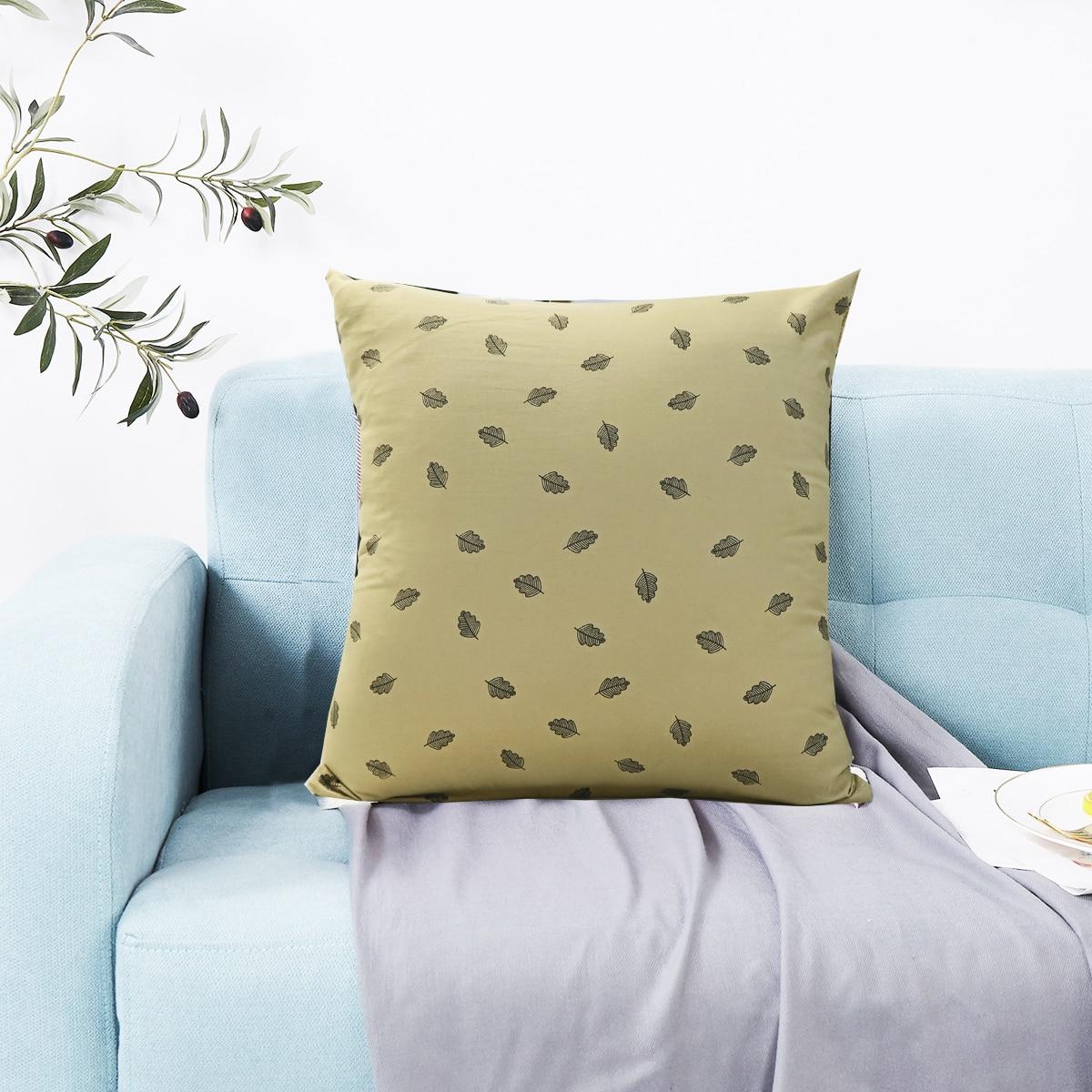 ехол для подушки с лиственным принтом