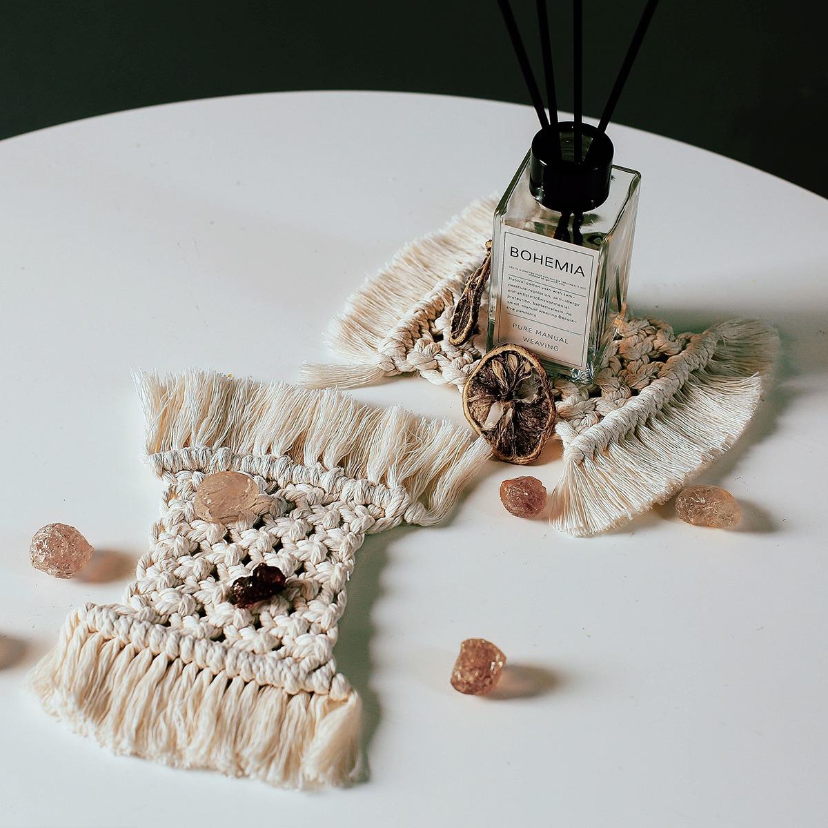 1шт плетеный настольный коврик с бахромой