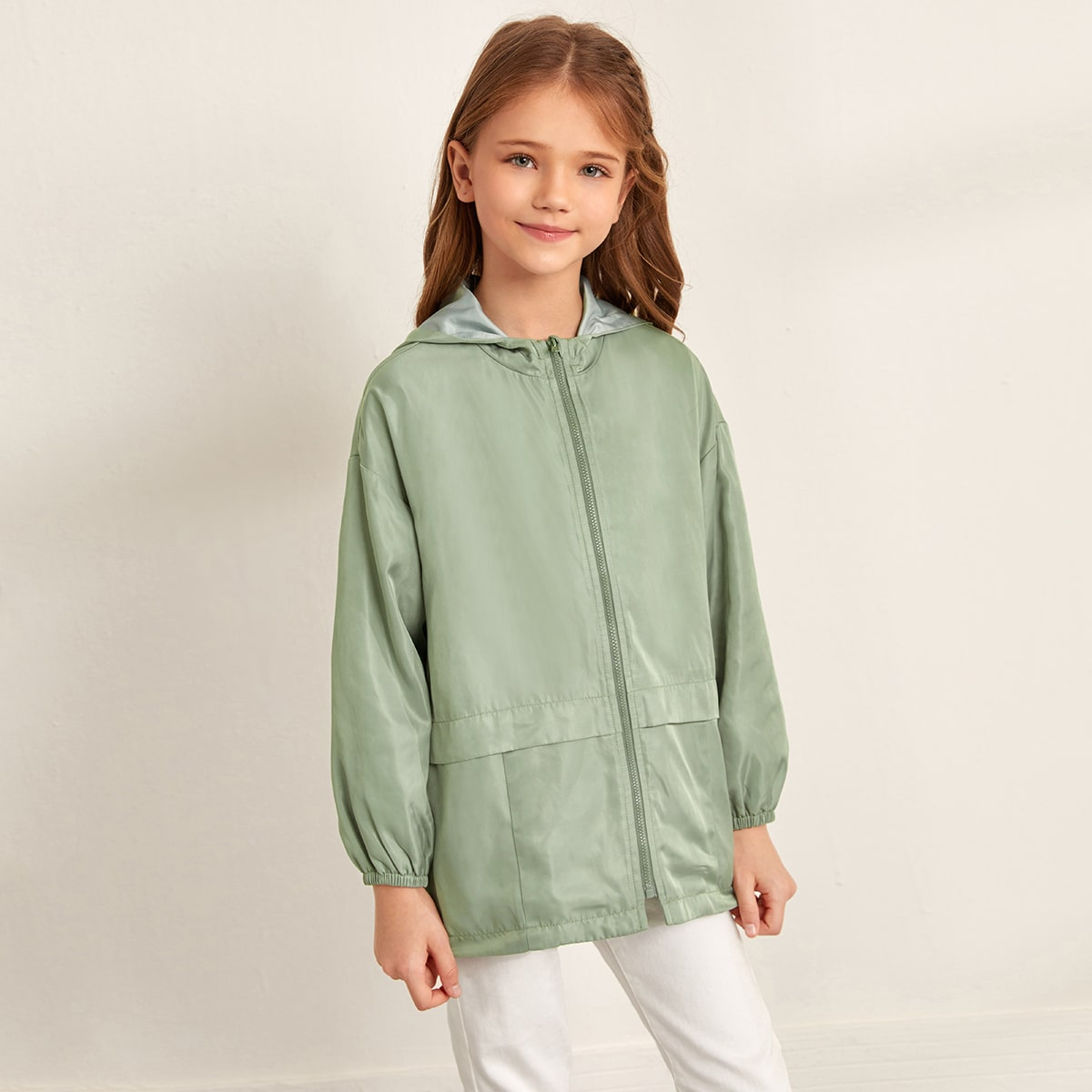 Пальто на молнии с капюшоном для девочек от SHEIN