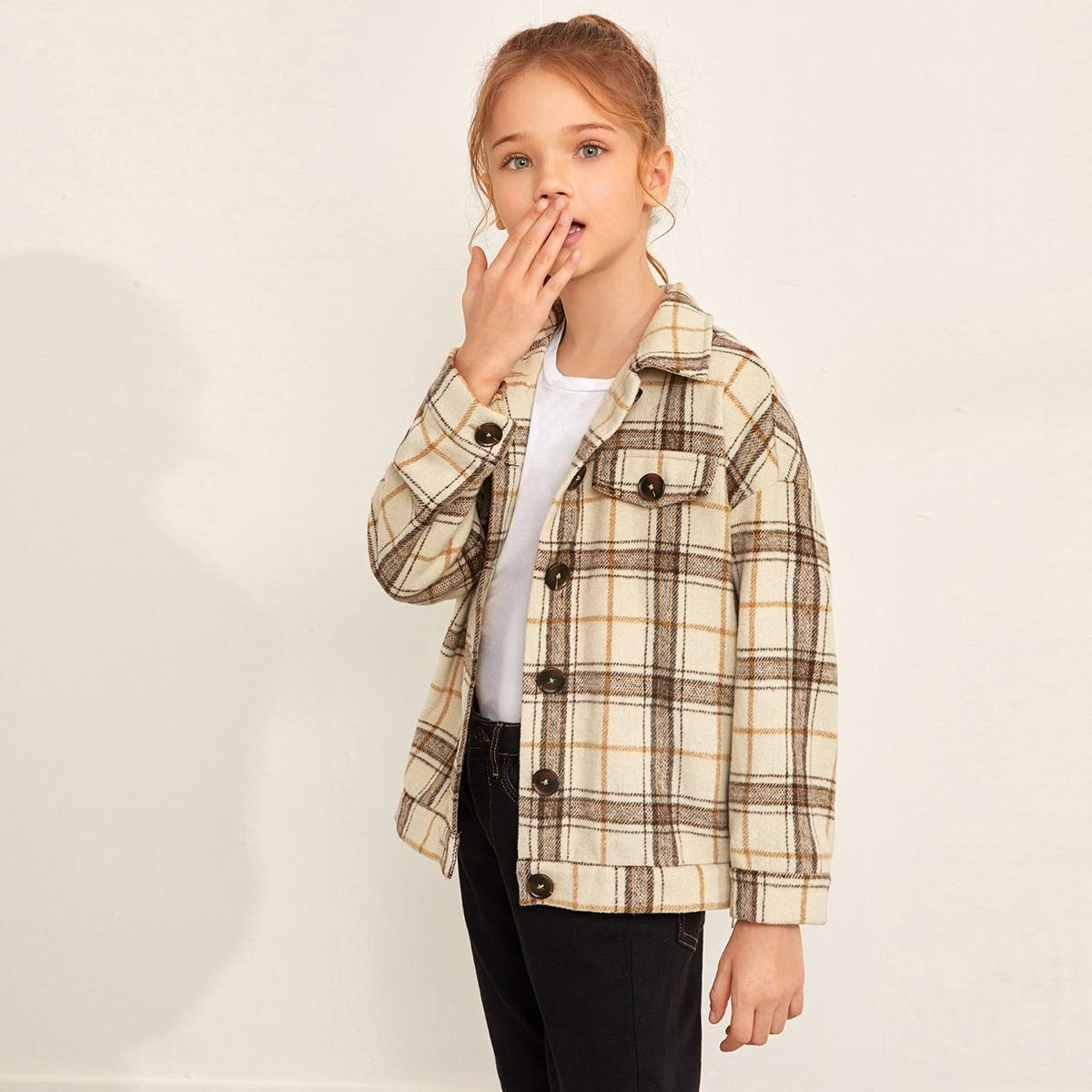 Куртка в клетку с пуговицами для девочек от SHEIN