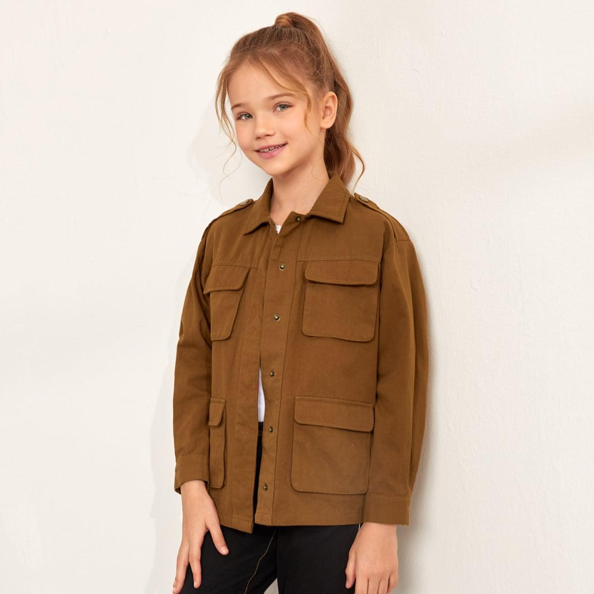 Однобортная куртка с карманом для девочек от SHEIN