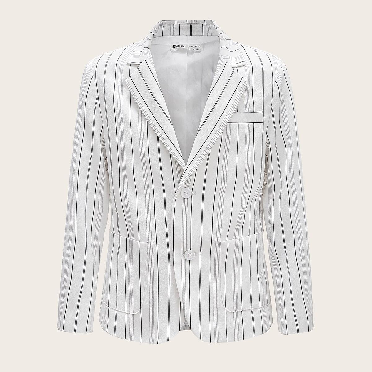 Пиджак в полоску с карманом для мальчиков от SHEIN