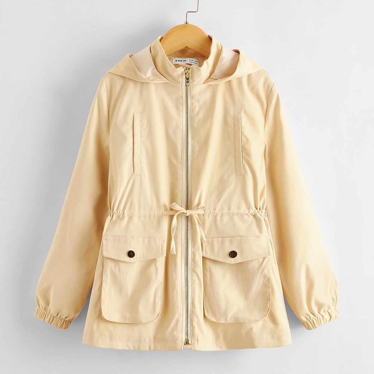 Пальто на молнии с капюшоном и карманом для девочек от SHEIN