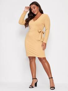 Plus V-neck Knot Side Fitted Dress - $21.00