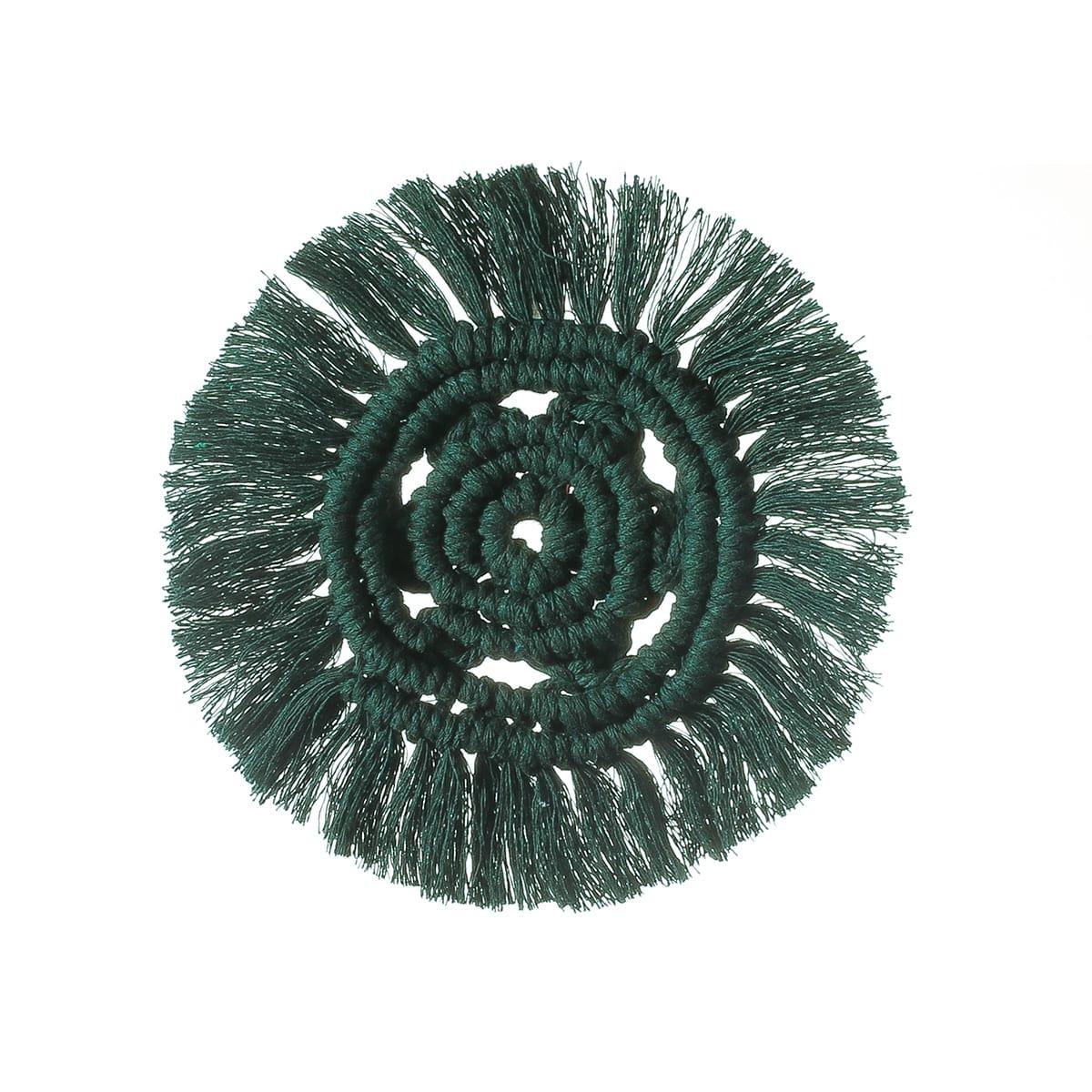 1шт круглый плетеный настольный коврик с бахромой