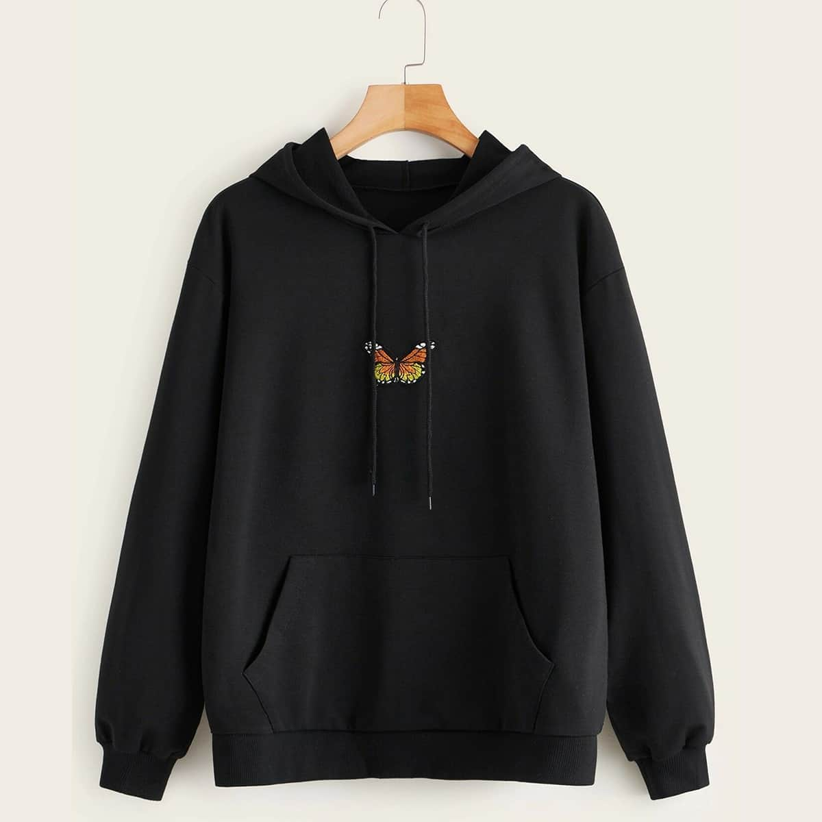 SHEIN / Plus Butterfly Patched Kangaroo Pocket Drawstring Hoodie