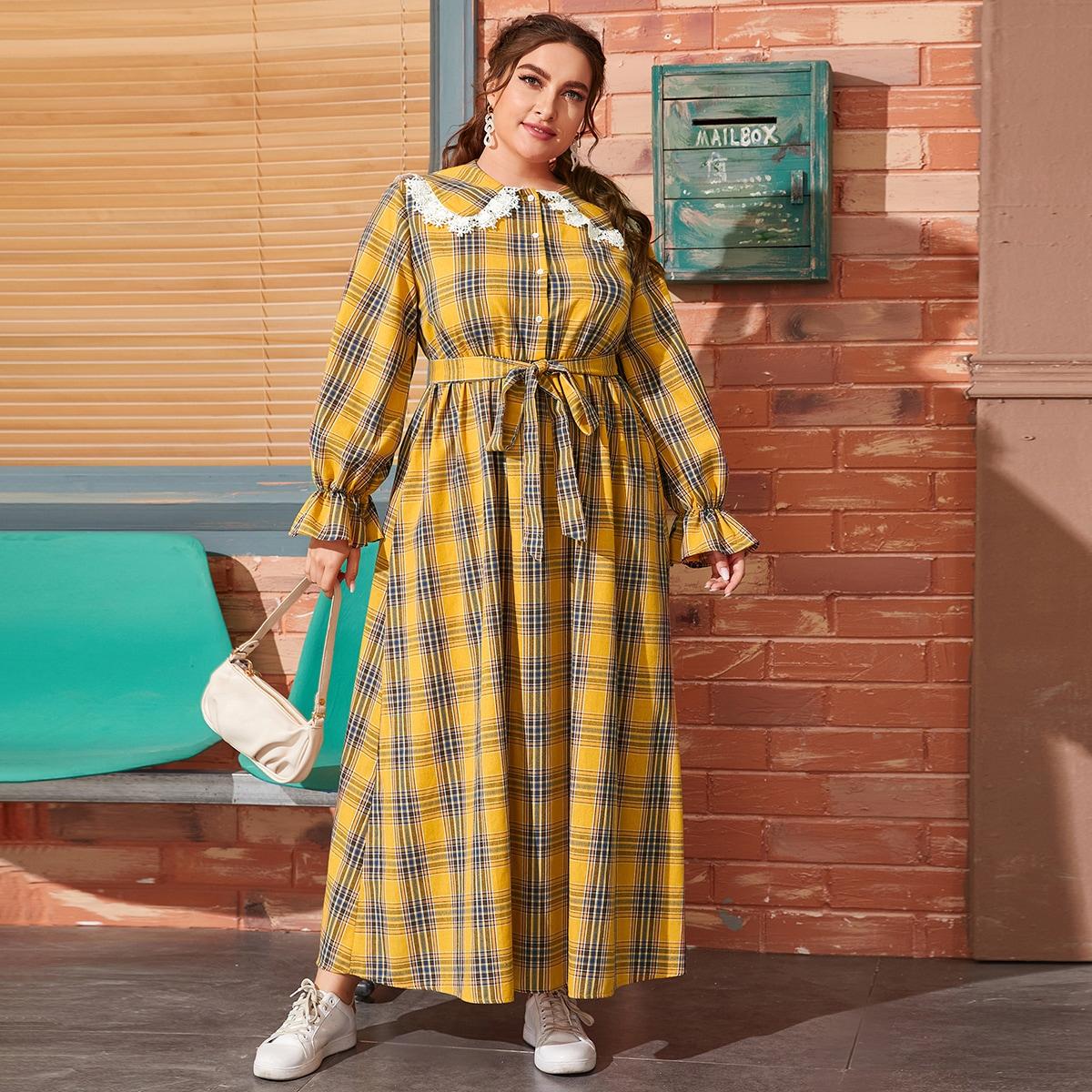 SHEIN / Hemdkleid mit Guipure Spitzenbesatz, Schößchenärmeln und Selbstgürtel