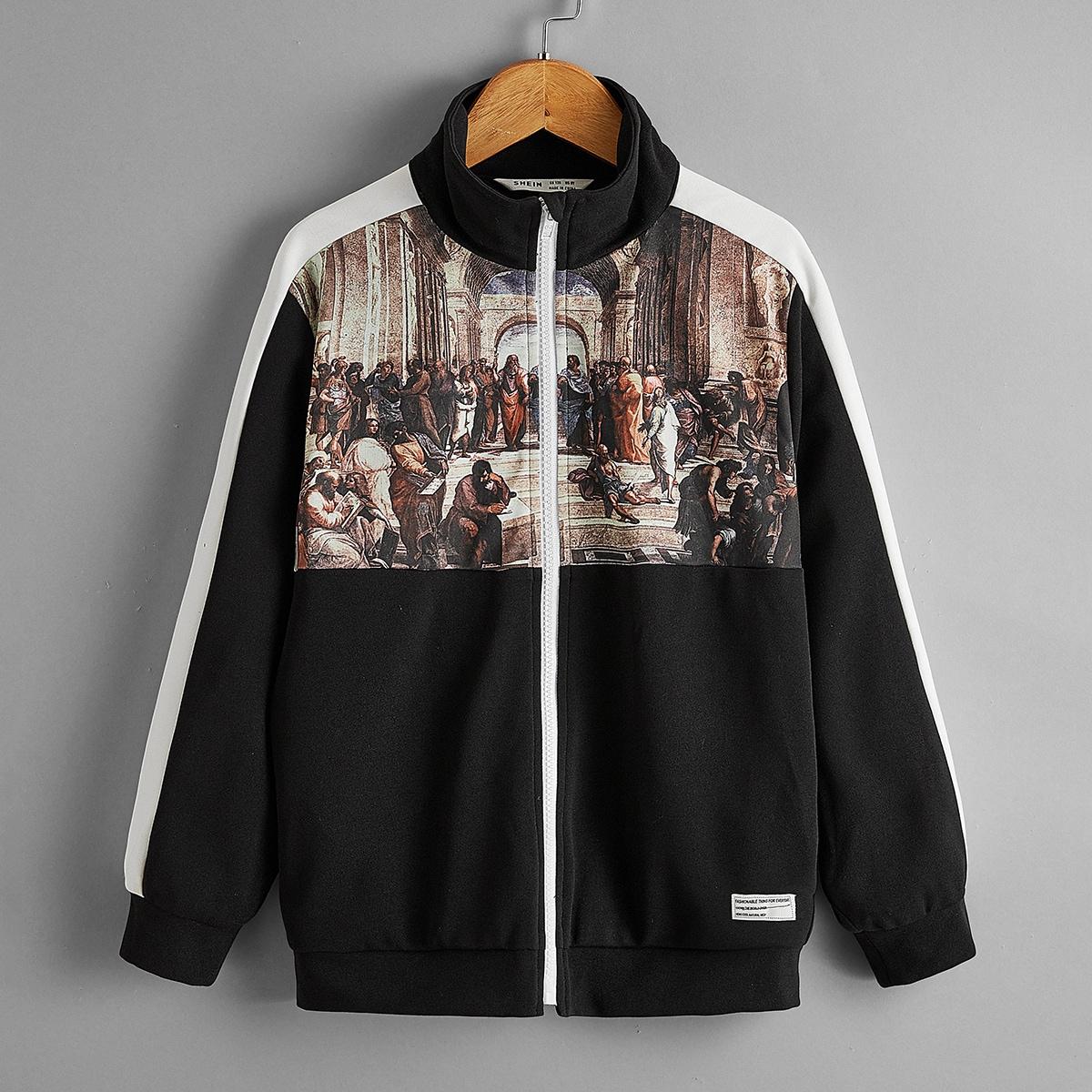 Куртка на молнии с графическим принтом для мальчиков от SHEIN