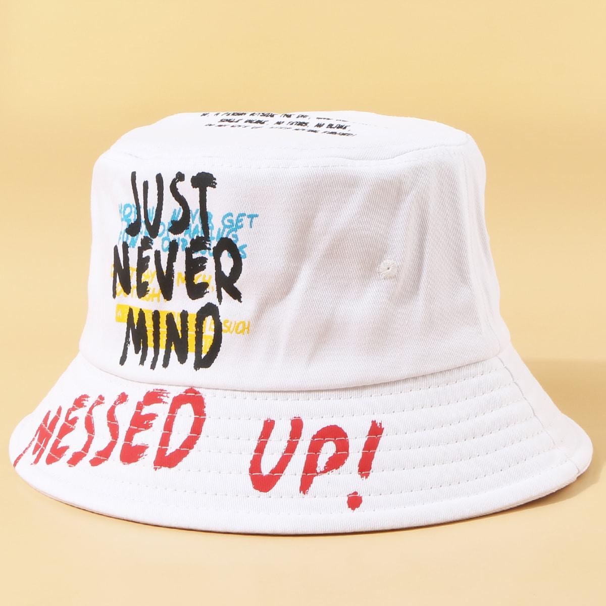 Мужская шляпа с текстовым принтом от SHEIN