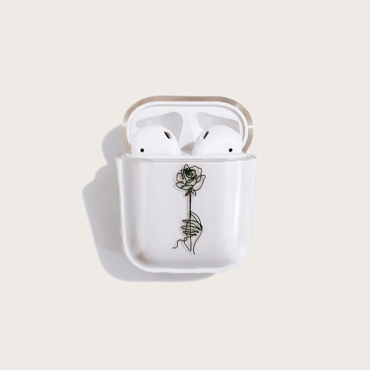 SHEIN / 1 Stück Transparente Airpods Hülle mit Rose Muster