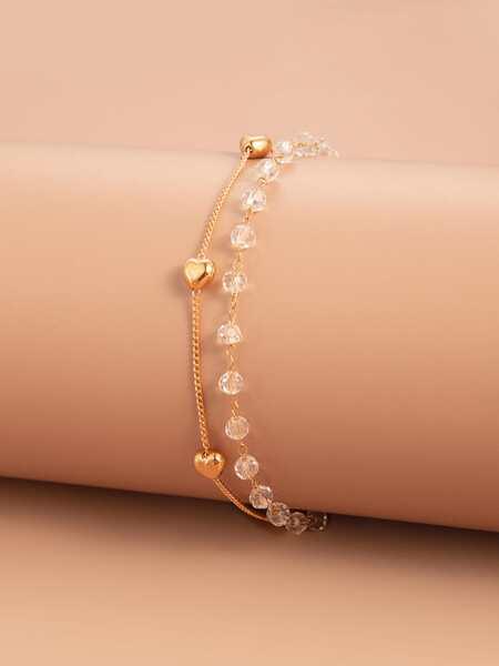 Heart Decor Layered Bracelet