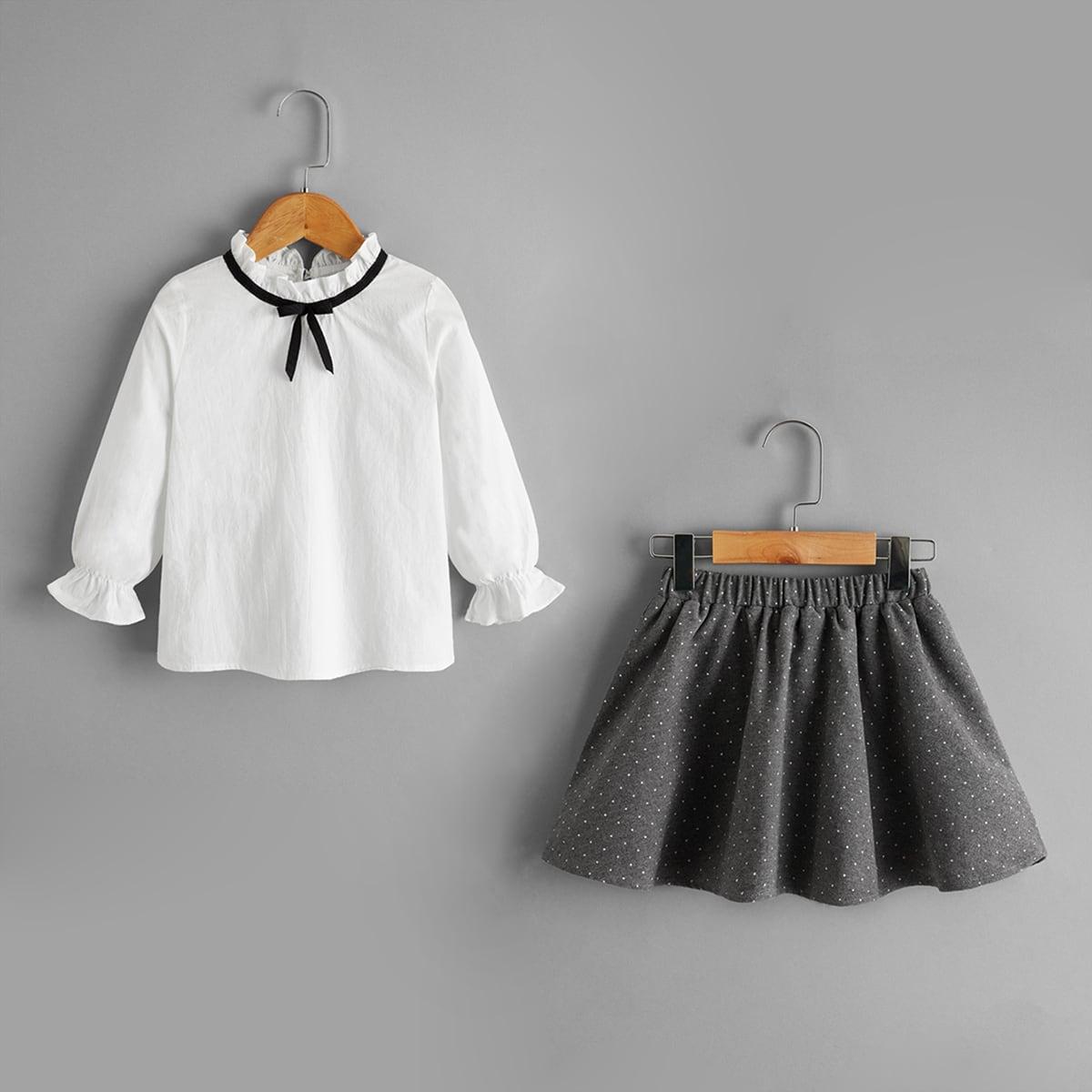 SHEIN / Bluse mit Rüsche am Kragen und Schleife & Rock mit Punkten Muster