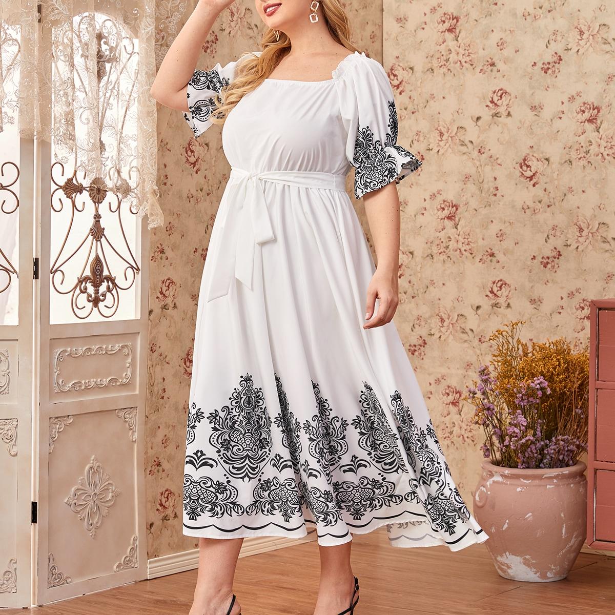 SHEIN / Kleid mit quadratischem Kragen, Rüsche, Manschetten, Damast Muster und Gürtel