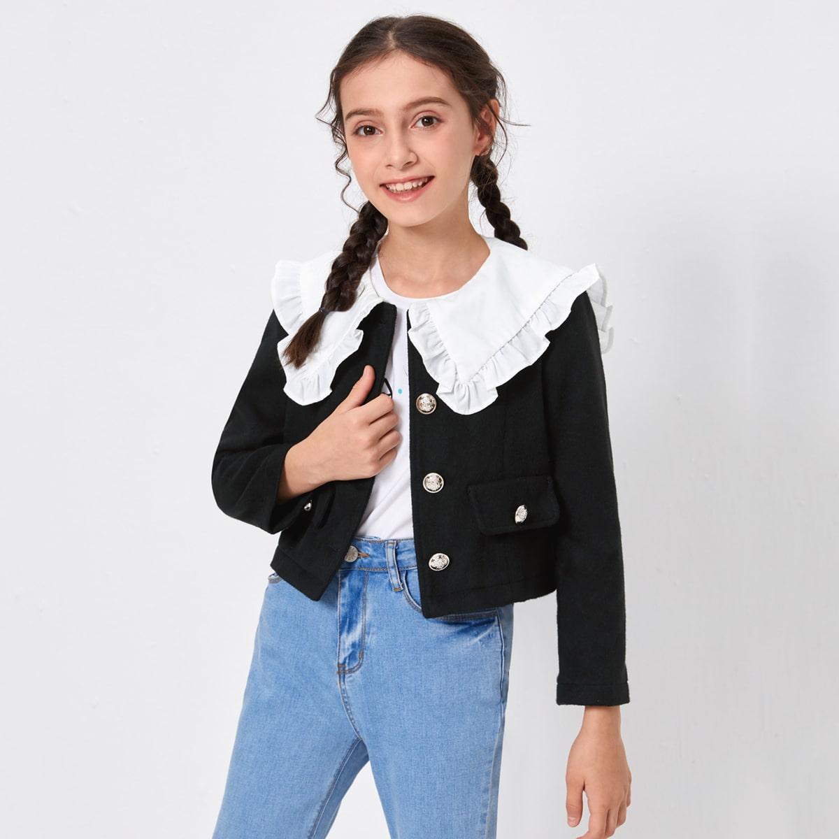с воланами Контрастный цвет милый Пальто для девочек от SHEIN