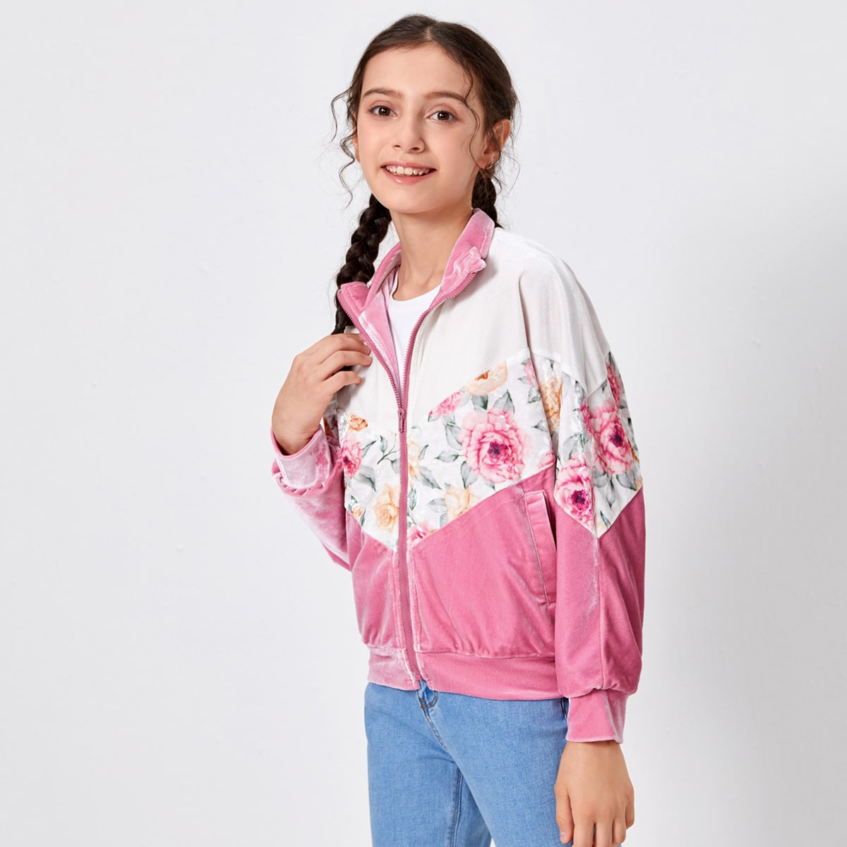 на молнии Цветочный Повседневный Пальто для девочек от SHEIN