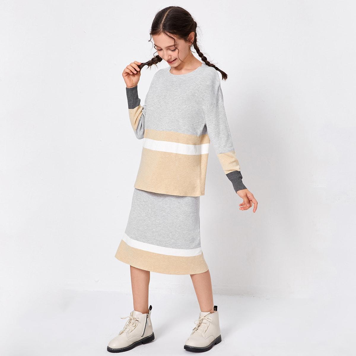 Контрастный свитер и юбка для девочек