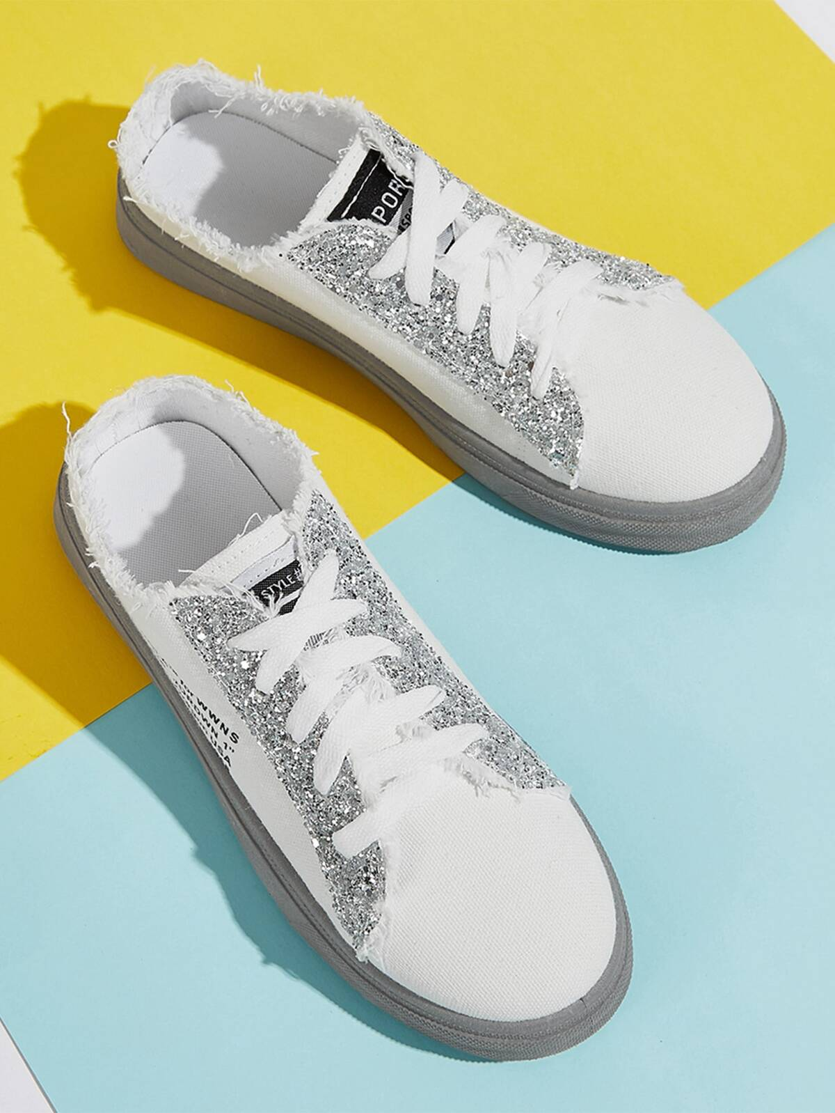 Sequin Raw Edge Canvas Shoes