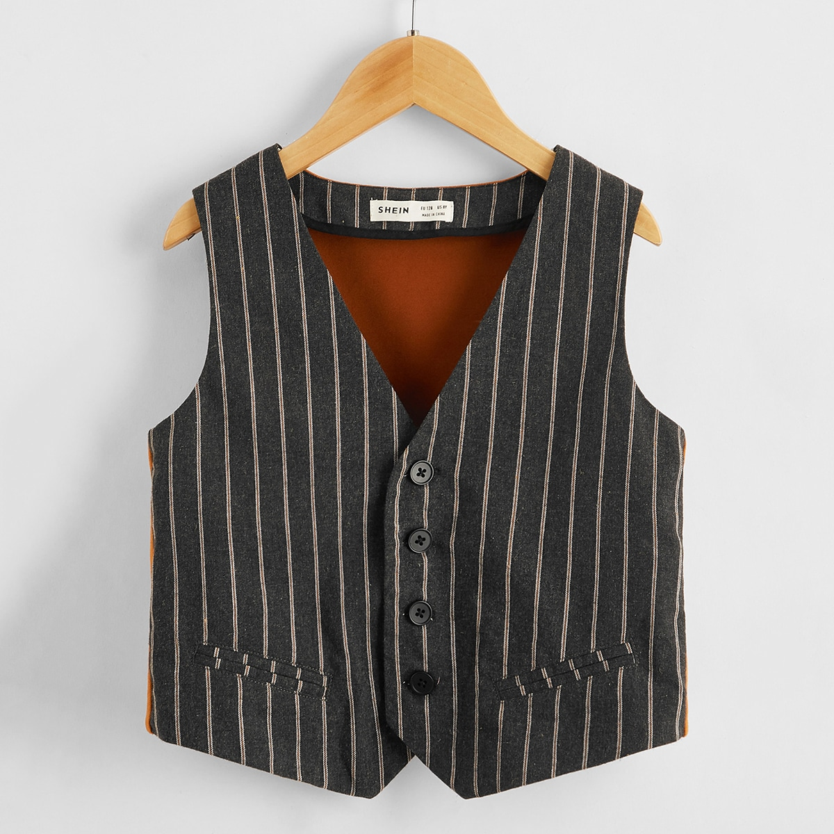 Многоцветный Асимметричный Полосатый Повседневный Пальто для мальчиков от SHEIN