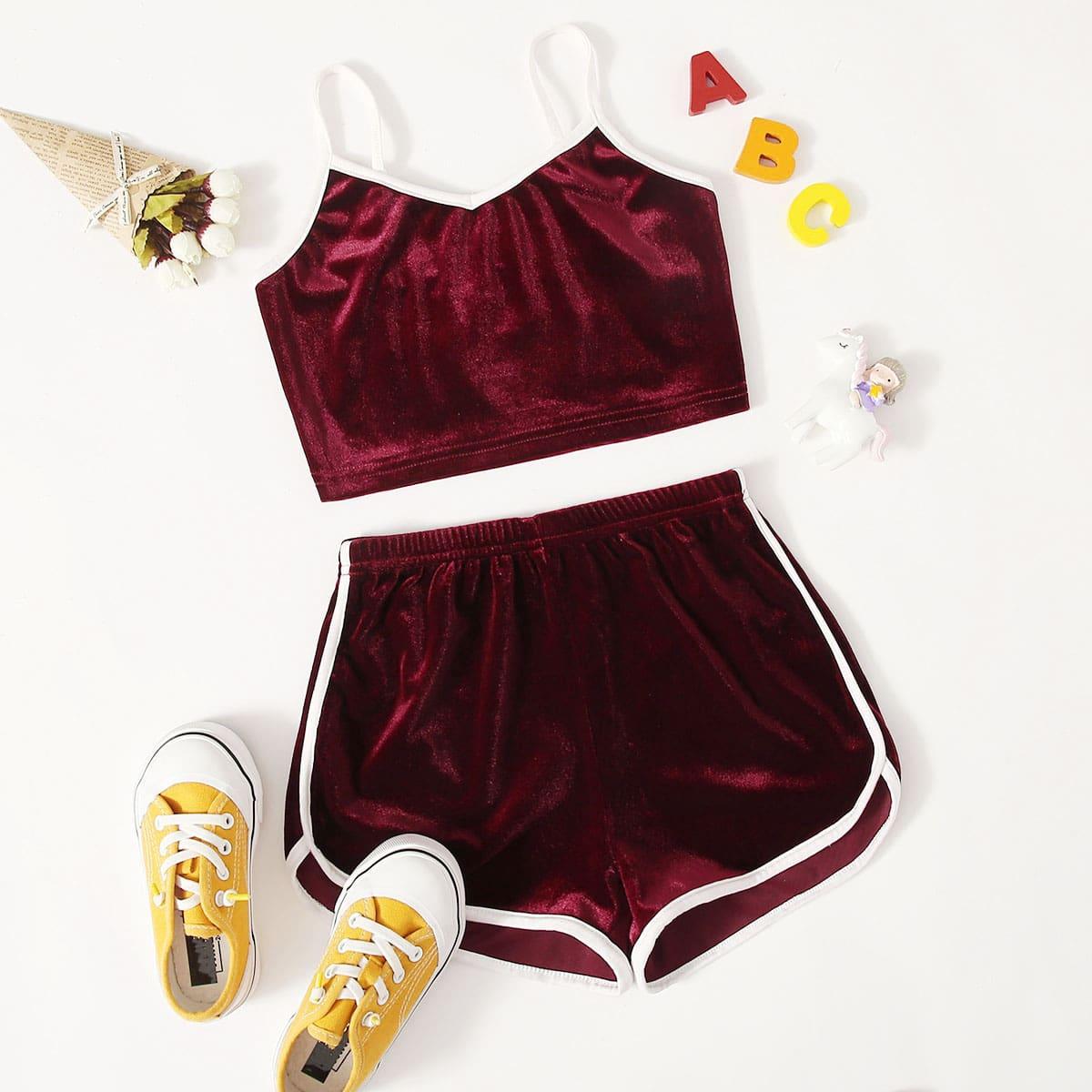 Каштановый Контрастная отделка Спортивный Комплекты для девочек от SHEIN