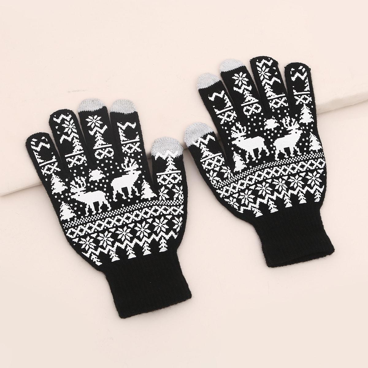 Вязаные перчатки с узором оленя от SHEIN