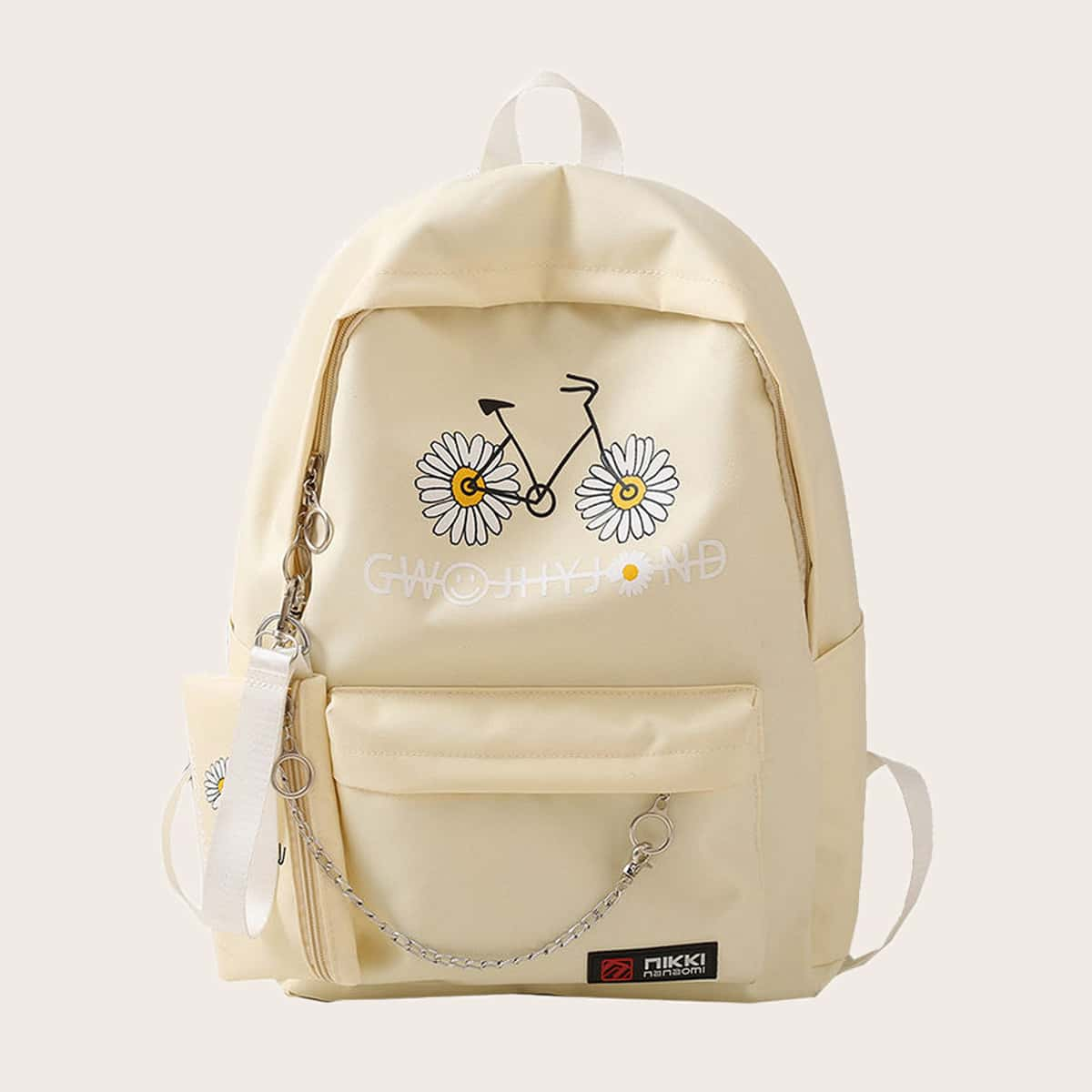 Girls Chain Decor Daisy Print Backpack With Purse (skbag18200730696) photo