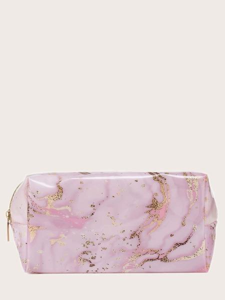 1pc Marble Print Makeup Bag