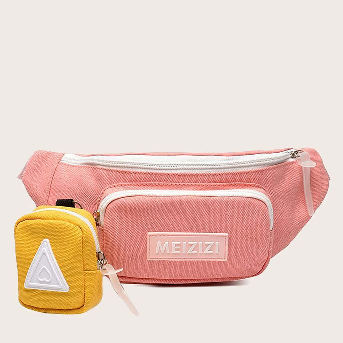 Girls Letter Graphic Fanny Pack With Purse (skbag18200730039) photo