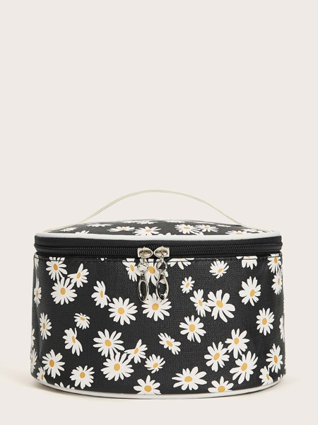 1pc Daisy Print Makeup Bag