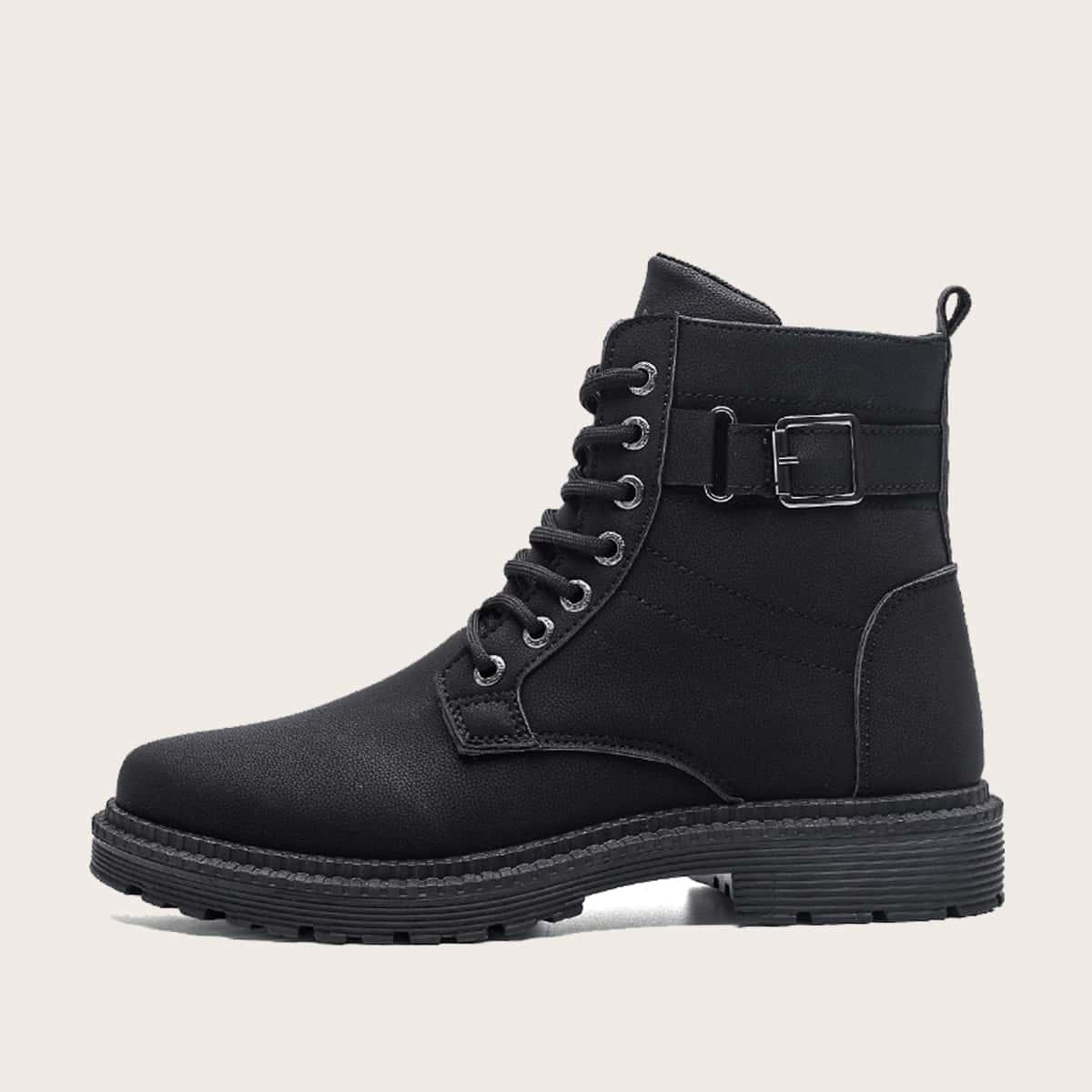 Чёрный пряжка Одноцветный Мужские ботинки
